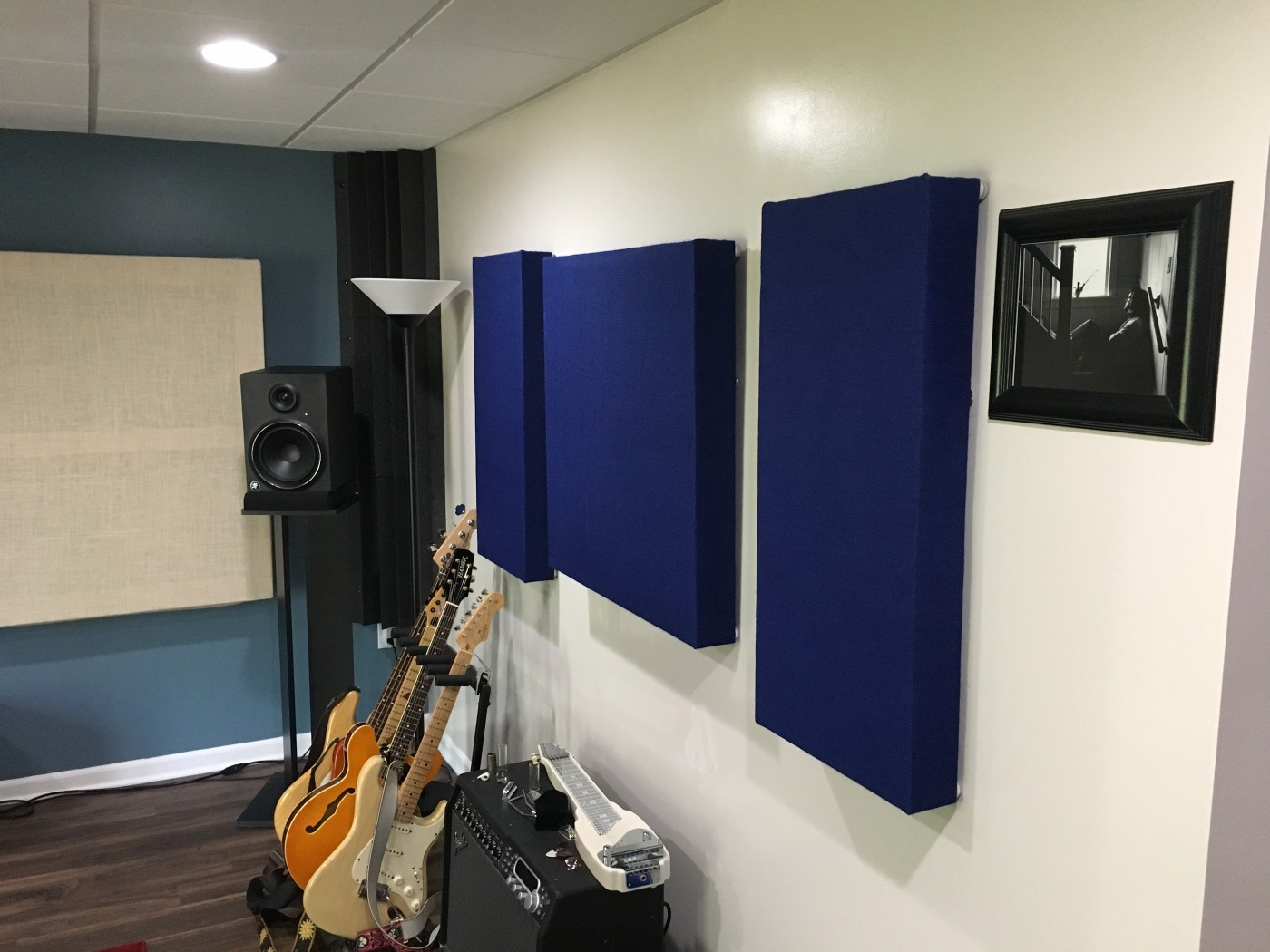 Medium, hand-made acoustic panels. Wood frames with rockwool insulation, and wrapped in acoustic-grade burlap.