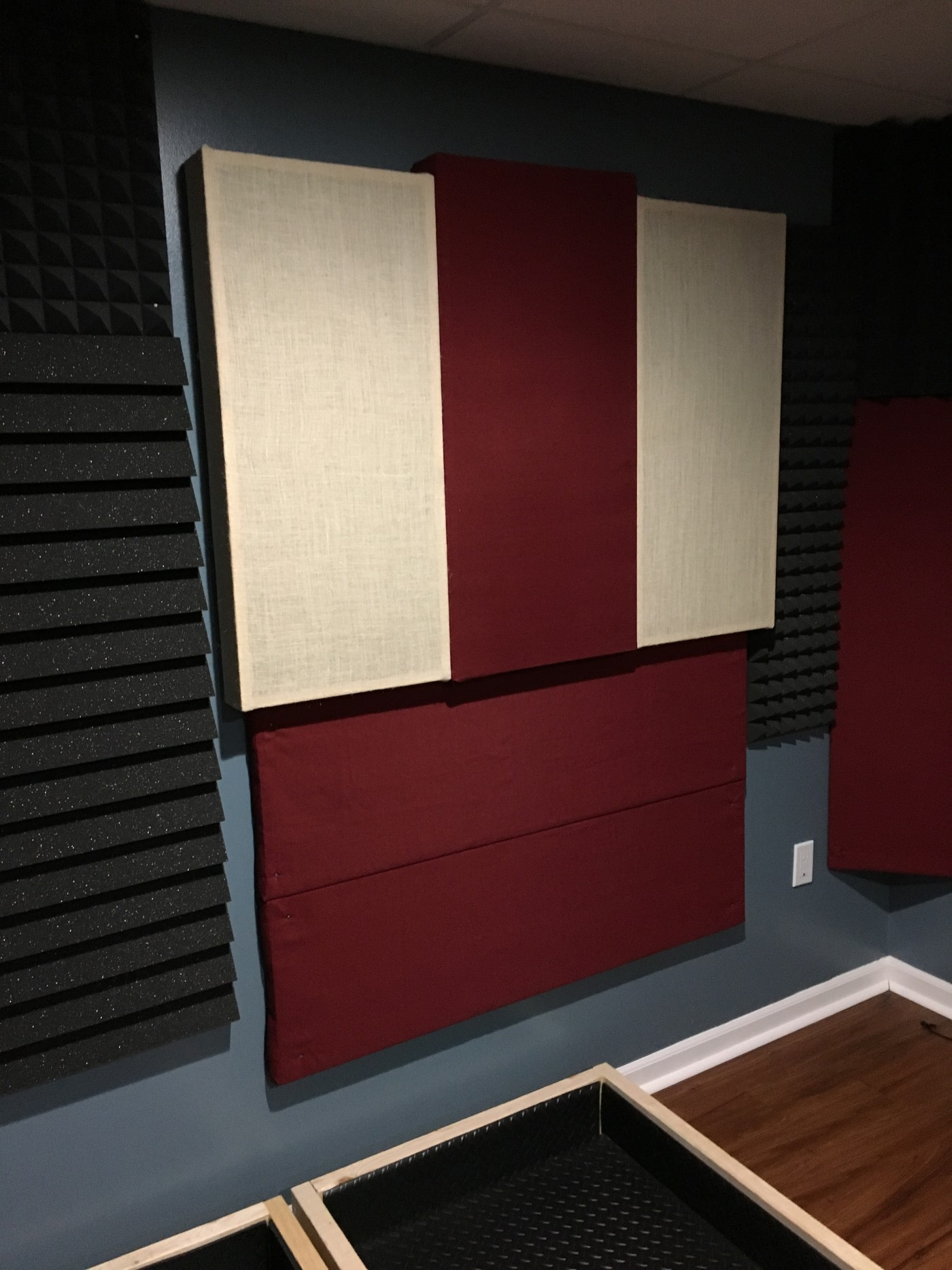 Medium, hand-made acoustic panels. Wood frame, rockwool insulation, wrapped in acoustic-grade burlap.
